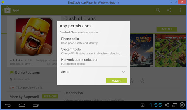 Give the clash of clans app permissions